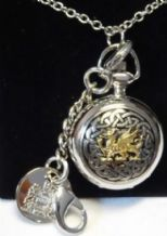 Gilt Dragon on a Celtic Background Ladies Pendant Watch